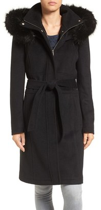 Women's Ivanka Trump Wool Blend Coat With Removable Faux Fur Trim Hood $360 thestylecure.com