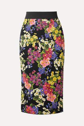 Dolce & Gabbana Printed Silk-blend Pencil Skirt