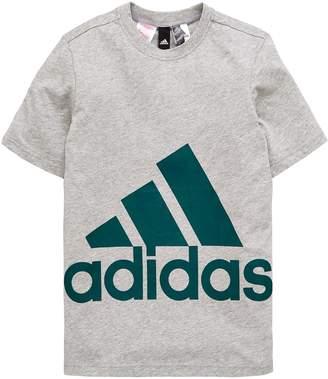 adidas Boys Big Logo Tee - Medium Grey Heather
