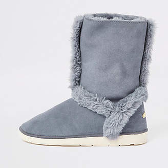 River Island Grey suede faux fur lined boots