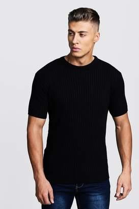 boohoo Short Sleeve Ribbed Knitted T-Shirt