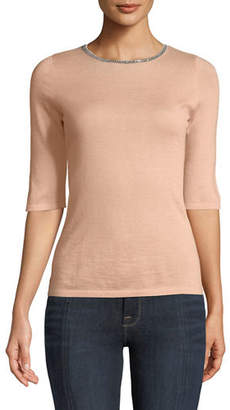 Neiman Marcus Superfine Cashmere Chain-Trim Half-Sleeve Sweater