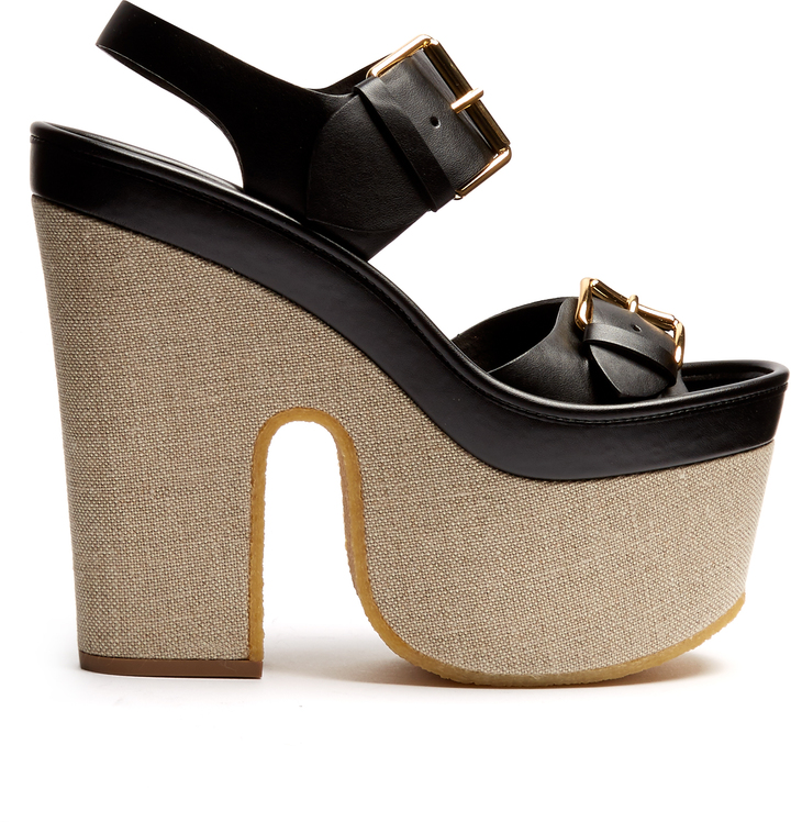 STELLA MCCARTNEY Slingback faux-leather platform sandals