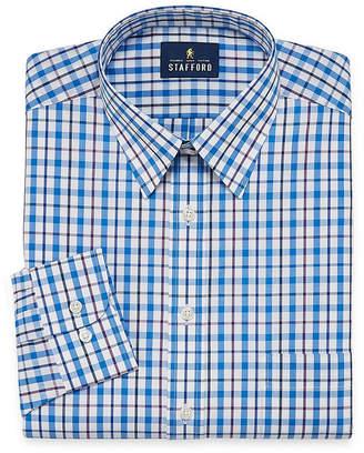 STAFFORD Stafford Travel Performance Super Shirt Big And Tall Long Sleeve Broadcloth Plaid Dress Shirt
