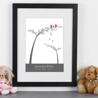 Wall Art Personalised Birthdate Of Baby Bird In Leaning Tree