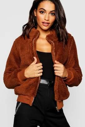 boohoo Teddy Faux Fur Crop Jacket
