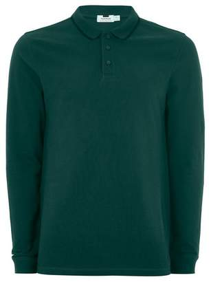Topman Mens Green Tipped Muscle Fit Polo