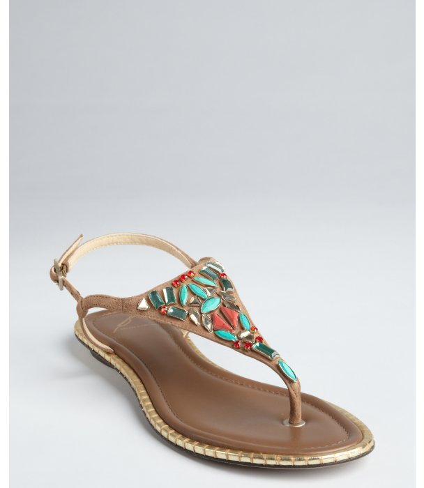 Brian Atwood natural suede crystal embellished 'Clemence' thong sandals