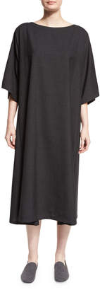 eskandar Boat-Neck T-Shirt Dress, Charcoal