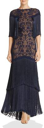 Tadashi Shoji Embroidered Fringe Gown