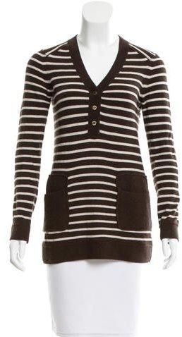 Tory BurchTory Burch Striped V-Neck Sweater