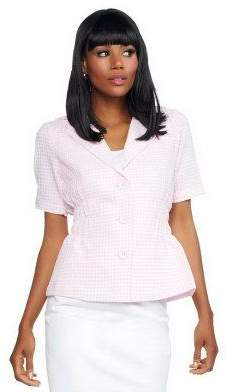 Joan Rivers Classics Collection Joan Rivers Gingham Short Sleeve Signature Jacket