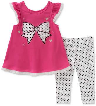 Kids Headquarters 2-Pc. Bow Graphic-Print Tunic & Dot-Print Leggings, Toddler Girls
