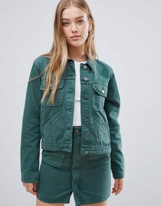 Asos Design DESIGN denim jacket in washed green