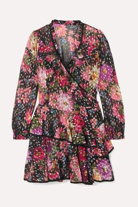 Needle & Thread Metallic Floral-print Fil Coupé Chiffon Wrap Dress - Black