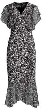 Michael Kors Scribble Print Draped Wrap Dress & Belt
