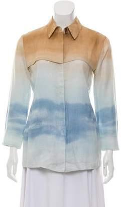 Armani Collezioni Long Sleeve Linen Top