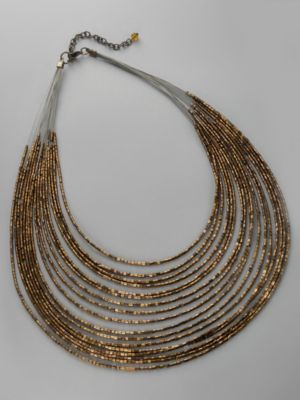 City Style Multi-Strand Bronze Bead Necklace