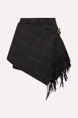 Sacai Fringed Wrap-effect Checked Cotton Shorts - Black