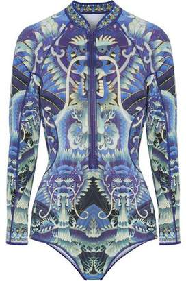Camilla Crystal-Embellished Printed Neoprene Rash Guard