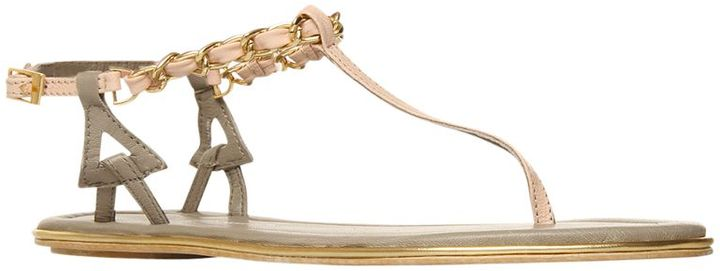 KG by Kurt Geiger Molly Leather and Chain Toe Post Sandals,  Pale Pink