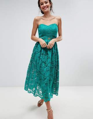 Asos Design Bandeau Lace Midi Prom Dress