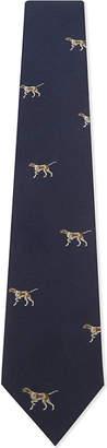 Drakes Dog motif jacquard silk tie $141 thestylecure.com