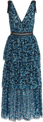Self-Portrait Self Portrait Tiered Sequin Midi Dress