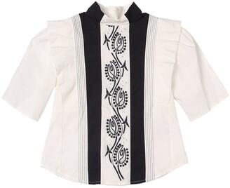 Chloé Cotton Poplin Shirt W/ Embroidery