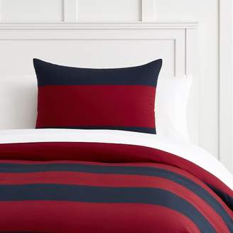 Pottery Barn Teen Bold Rugby Stripe Duvet Cover, Full/Queen, Navy/Red