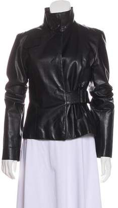 CNC Costume National Belted Leather Jacket