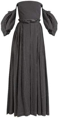 Loewe Off-the-shoulder polka-dot print gown