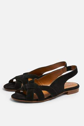 Topshop ORCHID Leather Black Peep Toe Sling Back Shoes