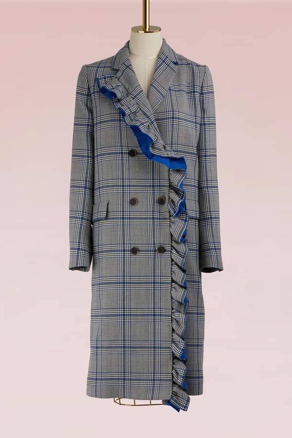 Msgm Long coat with ruffles