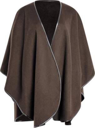 Sofia Cashmere Cashmere Cape With Leather Trim