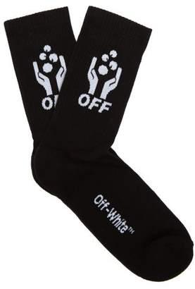 Off-White Off White Hands Off Knitted Cotton Blend Socks - Mens - Black
