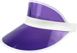 Ababalaya Unisex SPF 50+ UV Protection PVC Wide Brim Transparent Sun Visor  Hat e910bfa1691