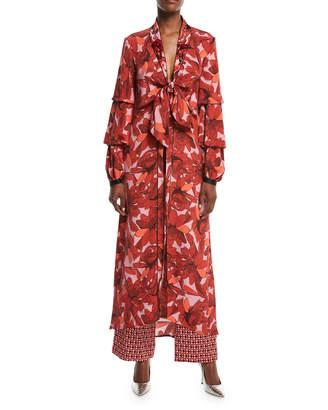 Johanna Ortiz Poppy Floral-Print Tie-Front Embellished Kimono Jacket