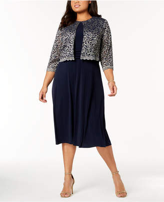Jessica Howard Plus Size Midi Dress & Metallic Lace Jacket