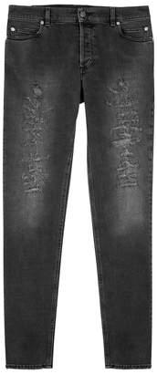 Balmain Grey Distressed Skinny Jeans