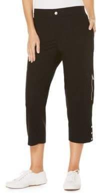 Rafaella Petite Petite Solid Banded-Waist Capri Pants
