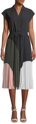 Club Monaco Shoanah Pleated Colorblock Shirtdress