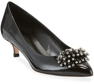 Sesto Meucci Bel Kitten-Heel Ornament Pumps, Black