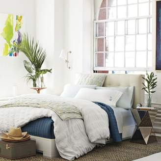 west elm Low Leather Grid-Tufted Headboard