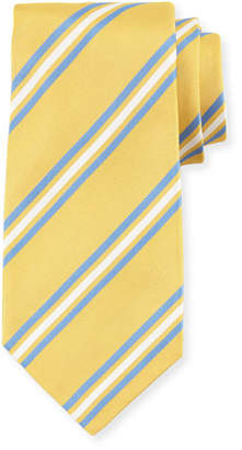 Kiton Framed Striped Silk Tie, Yellow