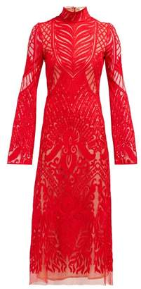 Galvan Oasis High Neck Embroidered Lace Dress - Womens - Red