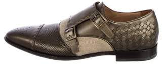 Etro Leather Woven Double Monk Strap Shoes w/ Tags