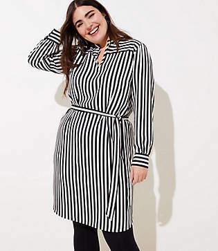 504f24b00787f LOFT Plus Striped Tie Neck Dress