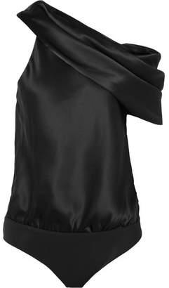 Alix - Maiden Draped Silk-satin And Jersey Bodysuit - Black