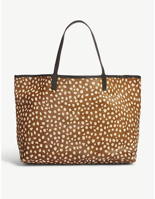 Mystique Brown Leopard-Print Amery Hair and Leather Tote Bag